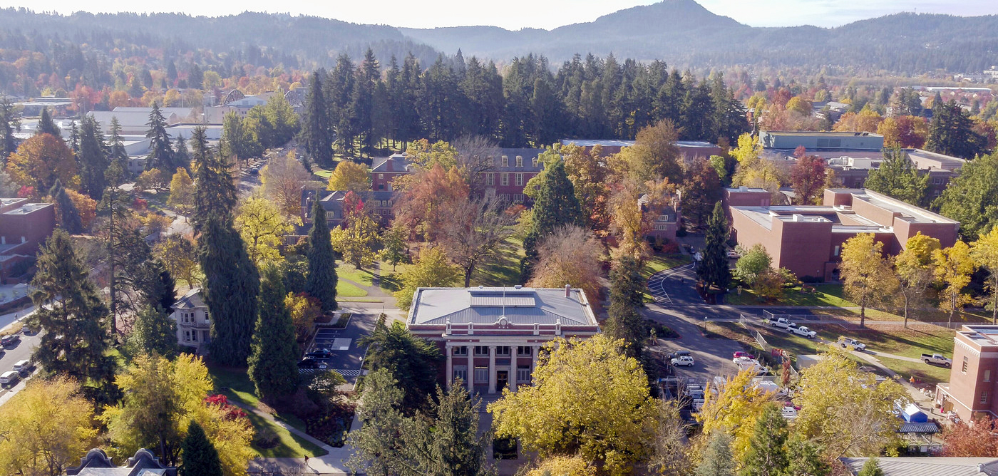 Fall aerial shot of UO